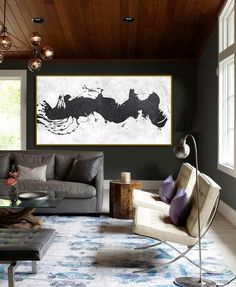 Horizontal Minimalist Art hand painted black and white art minimal painting on canvas by CZ Art Design Perfect choice for modern and contemporary home. Minimalist Art, White Art, Minimalism, Original Paintings, Canvas Art, Contemporary, Modern, Hand Painted, Interior