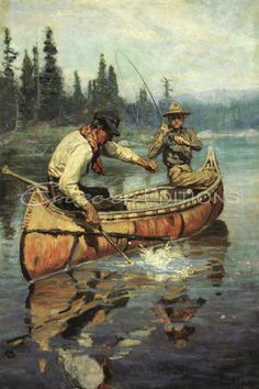 Philip Russell Goodwin - Philip R. Goodwin - Two Fishermen in a Birch Canoe Painting