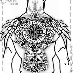 Image may contain: drawing Viking Tattoo Sleeve, Viking Tattoo Symbol, Rune Tattoo, Norse Tattoo, Celtic Tattoos, Sleeve Tattoos, Viking Tattoo Design, Back Tattoos For Guys, Full Back Tattoos