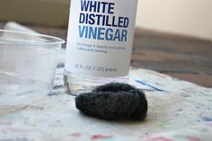 """Mix white distilled vinegar into a bowl and submerge a steel wool pad (just like the one you wash dishes with) into it.        The steel wool reacts with the vinegar to create an """"aging"""" wash. Let the steel wool soak in the vinegar for about 20 minutes…….the steel wool pad will begin to disintegrate a little."""