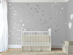 Silver confetti stars Stick on Wall Art Silver vinyl wall decal sticker stars Silver star decal set for baby nursery By DecalIslandSD 092 - Baby nursery decor, Star nursery, Baby be - Star Nursery, Nursery Wall Decals, Baby Nursery Decor, Baby Bedroom, Wall Decal Sticker, Nursery Room, Girl Room, Girls Bedroom, Childrens Bedroom