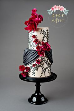 I am SO HAPPY to say that I have my first cake published in a magazine, American Cake Decorating. This cake was created for their Floral Couture issue and I took my inspiration from a gown from the Fall 2017 Marchesa line. I loved how the lace. Gorgeous Cakes, Pretty Cakes, Amazing Wedding Cakes, Amazing Cakes, Painted Cakes, Wedding Cake Inspiration, Unique Cakes, Floral Cake, Wedding Cake Designs