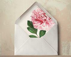 Blush Pink Peony Envelope Liners DIY Garden Wedding Invitations on Etsy, Orchid Wedding Invitations, Wedding Invitation Inspiration, Printable Wedding Invitations, Floral Invitation, Wedding Stationary, Invites, Wedding Envelopes, Wedding Inspiration, Wedding Paper