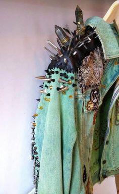 Items similar to KNOW YOUR RIGHTS // Restless Hands // Medium M // Denim Battle Jacket acid washed aqua mint green studs punk spike patches chains embroidery on Etsy Punk Fashion, Diy Fashion, Ideias Fashion, Fashion Outfits, Womens Fashion, Fashion Design, Moda Punk, Elegante Y Chic, Punk Mode