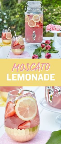 Get ready to wow your tastebuds with this sweet and citrusy Moscato pink lemonade recipe. Just in time for National Moscato Day on May (fun cocktails pink lemonade) Refreshing Drinks, Fun Drinks, Yummy Drinks, Alcoholic Drinks With Lemonade, Pink Party Drinks, Summer Wine Drinks, Bachelorette Party Drinks, Pink Lemonade Party, Lemonade With Alcohol