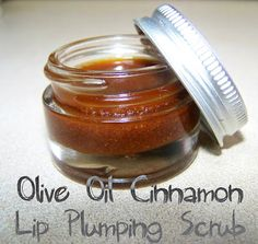 Olive Oil Cinnamon Lip Plump Scrub - 1 tbsp olive oil, 1 tsp of ground cinnamon, 1 tbsp sugar. Apply in circular motion, leave on for 5-10mins then rinse with lukewarm water and pat dry.- Interesting lol...