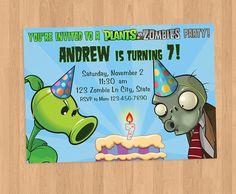 Plantas vs Zombies cumpleaños invitación por BabyBirdGraphics