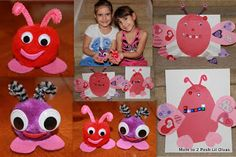 Love Bugs - pom poms & pipe cleaners and a 2nd version made out of paper that children cut themselves. So cute - would make fun valentine's too.
