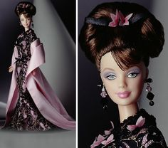 The Hanae Mori Barbie doll wears a beautiful gown designed by the renowned Japanese fashion designer, Hanae Mori. Description from ebay.com. I searched for this on bing.com/images