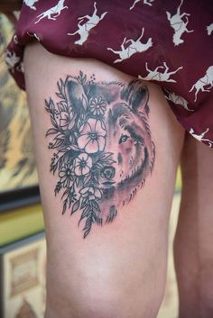 Wolf Head Flowers Girl thigh tattoo by Colby Morton Kansas City at Working Class Tattoo