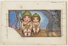 Nuttybub and Nittersing, watercolour drawing by May Gibbs. From the collections of the Mitchell Library, State Library of New South Wales www. Australian Flowers, Australian Art, Painting Patterns, Painting Art, Paintings, Vintage Fairies, Flower Fairies, Watercolor Drawing, Paper Roses