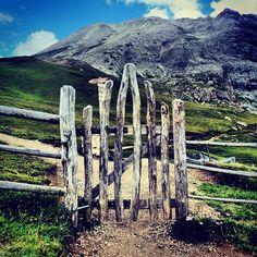 Pastoral wooden gate for sheep farming in Sassopiatto, Italy
