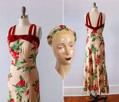 RARE 1930s Dress and HAT / 30s Floral Three Piece Set! / Wedding set