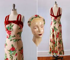 RARE 1930s Dress and HAT / 30s Floral Three Piece Set! / Wedding set