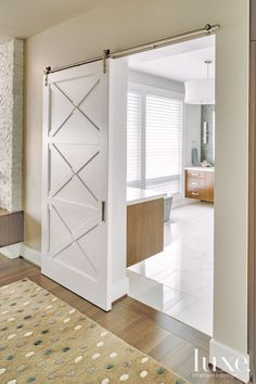 Contemporary Residence Blends Handsome Architecture and Stylish Decor Decor Interior Design, Interior Decorating, Interior Sliding Barn Doors, Sliding Doors, Muebles Living, Bathroom Doors, Master Bathrooms, Master Bedroom, Bathroom Cabinets