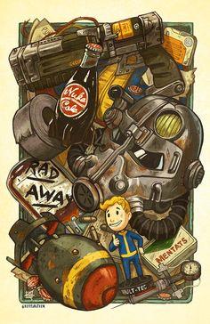 "Wasteland Fallout Cache - 11 x 17 ""poster print - Fan Art - - Fallout Tattoo, Fallout Posters, Fallout Fan Art, Fallout Concept Art, Fallout Logo, Fallout Comics, Fallout Quotes, Fallout 4 Vault Boy, Fallout Funny"