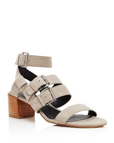 be6831c6dee6 Buckle up  Rebecca Minkoff s strappy suede sandals are city-ready at a  mid-heel height that lends flattering lift without sacrificing style.