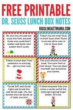 Fun Dr Seuss Lunch Box Notes - Everything About Kindergarten Dr. Seuss, Dr Seuss Week, Lunchbox Notes For Kids, Kids Lunch For School, School Lunches, Box Lunches, Lunch Boxes, School Ideas, Dr Seuss Snacks