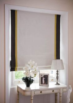 Cream Roman blinds with double vertical borders in charcoal and gold Drapes And Blinds, Shades Blinds, Roman Blinds, Blinds For Windows, Drapes Curtains, Blinds For Bedroom, Neutral Curtains, Window Blinds, Curtains Inside Window Frame