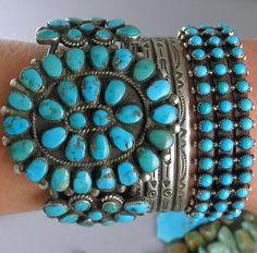 2-25-WIDE-57g-Navajo-Old-Natural-Blue-Gem-Turquoise-Cluster-Cuff-Bracelet: