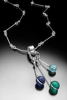Three sea glass marble pendants on a necklace. San Diego Beach, Glass Marbles, Sea Glass Jewelry, Bingo, Jewelry Watches, Handmade Jewelry, Pendants, Silver, Handmade Jewellery
