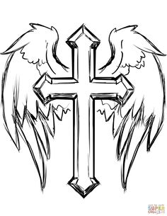 Cross Coloring Pages. New Cross Coloring Pages. Cross with Wings Coloring Page Cross Tattoo Designs, Tattoo Design Drawings, Art Drawings Sketches, Tattoo Sketches, Cool Drawings, Pencil Drawings, Music Drawings, Sketch Art, Cross Designs