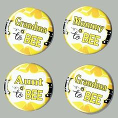 Baby Shower Mommy to Bee Theme Buttons SET of 4 - parents reading Baby Shower Bingo, Baby Shower Parties, Baby Boy Shower, Bee Baby Showers, Bee Gender Reveal, Baby Shower Gender Reveal, Baby Shower Centerpieces, Baby Shower Decorations, Mommy To Bee