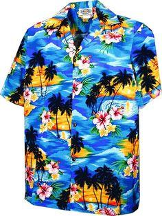 2cb594ec Sunset Palm Boys Hawaiian Shirts - Hawaiian Shirts - Aloha Shirt - Hawaiian  - Blue w