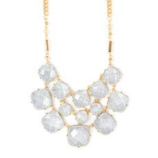 Layered Silver Glitter Stone Squares Statement Necklace