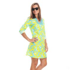 This tunic features a colorful wave pattern, detailed woven neckline, and lightweight, linen fabric.
