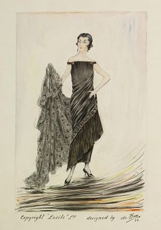 Evening dress design, Jules de Ban (for Lucile), 1923; VAM E.2934-1962