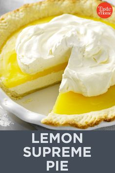 A friend and I often visit a local restaurant for pie and coffee. When they stopped carrying our favorite lemon supreme Lemon Pie Recipe, Lemon Dessert Recipes, Lemon Recipes, Pie Recipes, Cooking Recipes, Lemon Supreme Pie Recipe, Cooking Tips, Recipies, Just Desserts