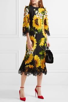Dolce & Gabbana Embellished Lace-Trimmed Printed Cady Midi Dress $4,595, available at Net-a-Porter