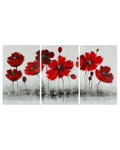 Safavieh Set of 3 Red Flower Paintings