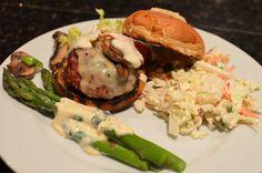 Steak House Burgers, Caesar Coleslaw, Chilled Asparagus Salad