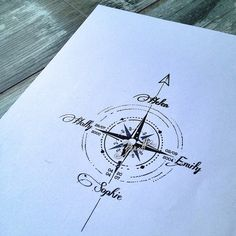 Compass with names. - -Compass with names. - - Katmai - Alaska Napkin - home gifts ideas decor special unique custom individual customized individualized Minimalist Compass Tattoo Compass Tattoo Design, Name Tattoo Designs, Flower Tattoo Designs, Compass Tattoo Meaning, Nautical Compass Tattoo, Arrow Compass Tattoo, Family Name Tattoos, Tattoos With Kids Names, Tattoo Names
