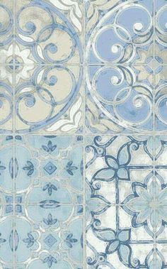 Lovely painterly tiles in shades of blue