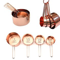 Copper Measuring Cups For Your Rustic & Farmhouse Kitchen Decor, Superior Strength & Beautiful Finish, Unique Accessories, Baking Supplies, Cooking Tools, A Lovely Gift, Attractively Boxed