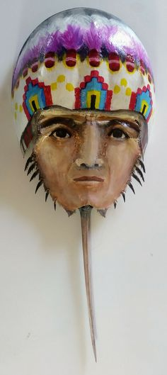 Painted horseshoe crab Native American by ArtsybeeBoutique on Etsy Horseshoe Crab, Crabs, Nativity, Native American, Kids Room, Room Ideas, Wall Art, Unique Jewelry, Handmade Gifts