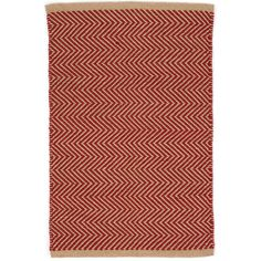 The thickest of our indoor/outdoor PET rugs, this spirited red and camel zigzag pattern offers subtle geometric interest on a durable, easy-care floor covering for the porch, patio, kitchen, or hallway.Made of 100% PET, a polyester fiber made from recycled plastic bottles.In order to achieve its rustic charm, this rug has been woven with large-diameter yarns. Consequently, slubs, knots, and other imperfections inherent to the hand-weaving process may be more visible on this style of rug ...