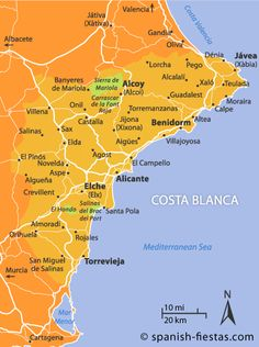 Spain's Costa Blanca consists of of Mediterranean coastline stretching from Denia in the north to Torrevieja in the south. It's most popular resort is Benidorm. Murcia, Valencia, Cool Places To Visit, Places To Go, England Germany, Places In Spain, Altea, Spain Holidays, Tourist Information