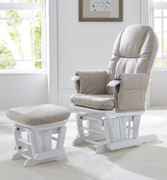 Tutti Bambini Deluxe Reclinable Glider Chair and Stool - White **Not necessarily in these colors, but I REALLY want a reclining rocker/glider chair!!