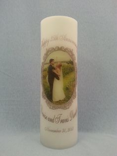 """Silver 25th Wedding Anniversary 6"""", 9"""" & 12"""" Candles"""