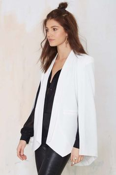 Nasty Gal Champagne Taste Cape Blazer - Ivory - Back In Stock | Blazers + Capes | Jackets + Coats