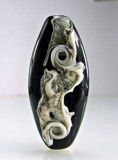 Black and Silvered Ivory Lampwork Focal Bead by skyvalleybeads