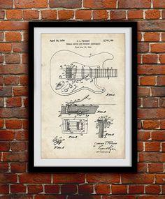Original Fender Guitarra cartel grabado patente 1956 - música Decor - Decoración de la pared - 0074