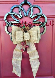 Horseshoe wreath with burlap bow