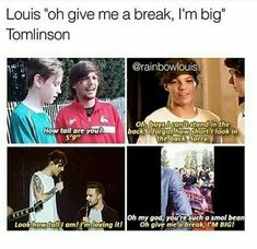 """Louis Tomlinson and the """"oh give me a break i'm big!"""""""