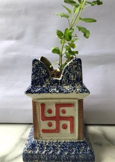 Spiritual Plant Outdoor Plant Plant Height up to 12 inches Pot height inches Tulasi Plant, Pink Plant, Painted Pots, Hand Painted, Ethnic Home Decor, Rubber Plant, Temple Design, Jade Plants, Plastic Planter