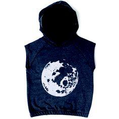 Sleeveless hoodie, moon print